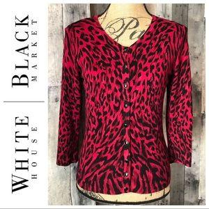 White House Black Market Red Black Leopard Sweater
